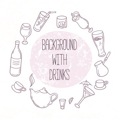 Set of outline drinks in vector. Backgrond with beverages for