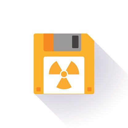 Floppy disk with a radioactivity sign