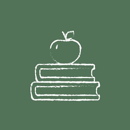 Books and apple on the top icon drawn in chalk