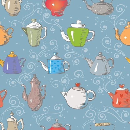 Seamless background with teapots.