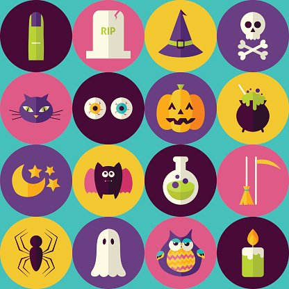Flat Magic Halloween Witch Seamless Pattern with Colorful Circle