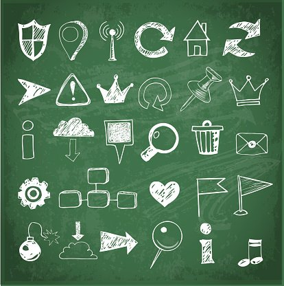 Sketch of web design icons on blackboard