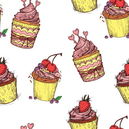 Hand drawn seamless pattern - Sweet cupcakes. Sketch background.