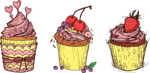 Hand drawn vector illustration - Sweet cupcakes.