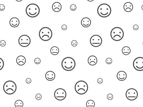 Smiley faces seamless pattern