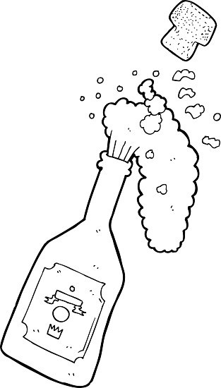 line drawing cartoon champagne popping