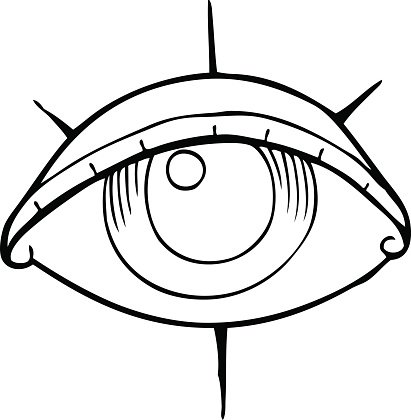 Line Drawing Cartoon Tattoo Eye Symbol Premium Clipart