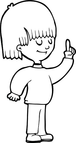 line drawing cartoon person with idea