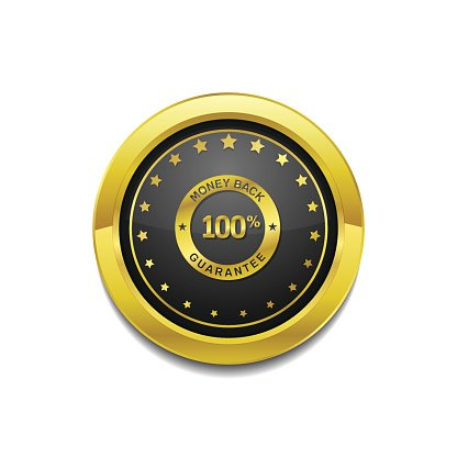 Money Back Golden Vector Icon Button