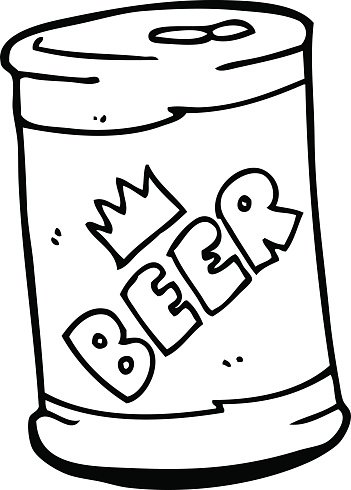 line drawing cartoon beer can