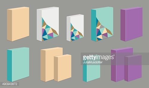 Set of colored product Boxes