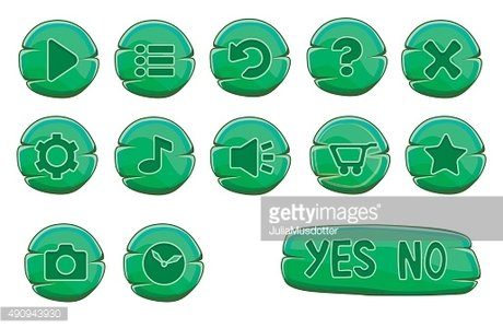 Set of stone round green vector game icons