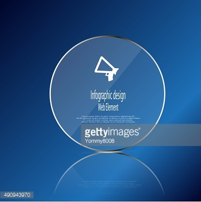 Glass ring template element on blue background