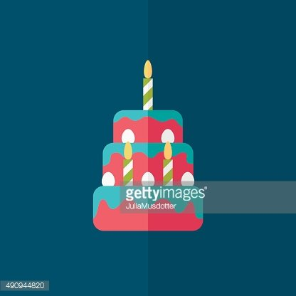 birthday cake flat icon with shadow