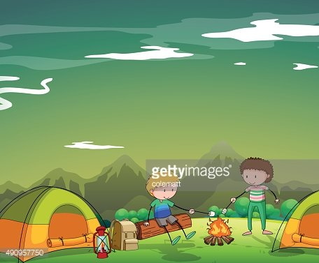 Two men camping out mountain