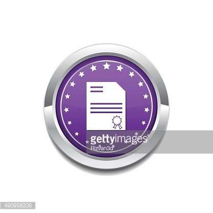 Certified Purple Vector Icon Button