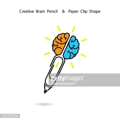 Creative brain pencil logo design,Paper clip sign