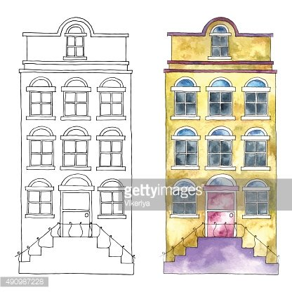 Watercolor buildings.