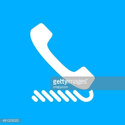 Telephone icon on a blue background. - SmoothSeries