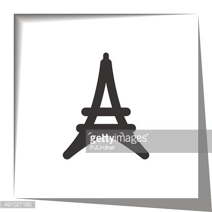 Eiffel Tower icon with cut out shadow effect