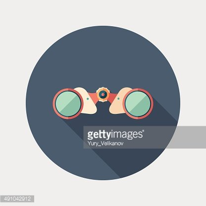 Colorful binoculars flat round icon with long shadows.