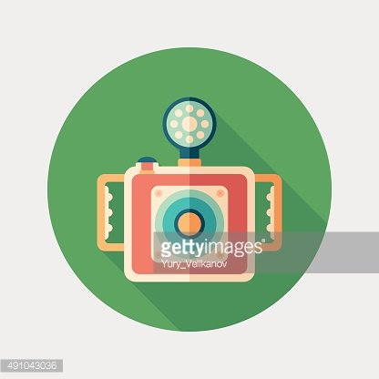 Underwater camera flat round icon with long shadows.
