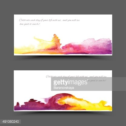 Banner watercolor violet yellow