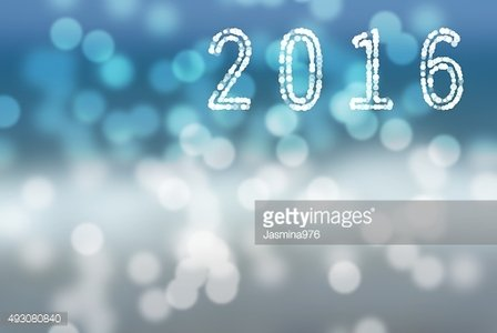 Blue and white bokeh 2016 winter holidays greeting card