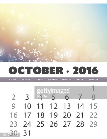 Calendar Background Template for October of Year 2016