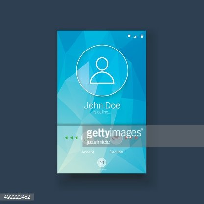 Mobile ui template with calling screen on blue low poly