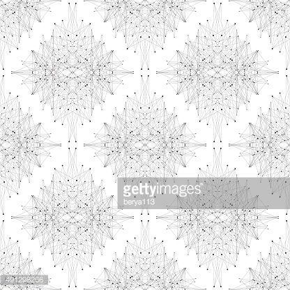 Seamless graphic texture molecule and communication. Connected lines with dots
