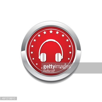 Head Phone Red Vector Icon Button