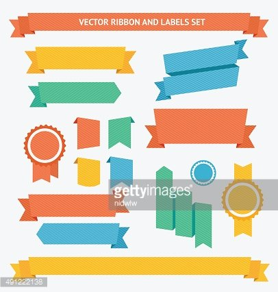 Ribbon and Labels Set. Vector