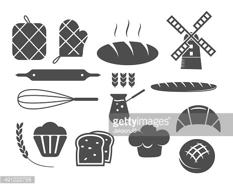Set of bakery silhouette icons and design elements, symbols. Fresh