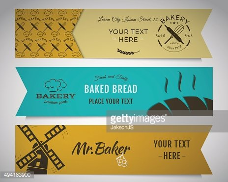 Bakery and food banners collection. Stickers set with fresh bread