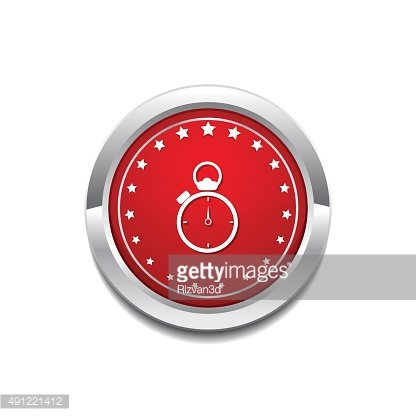 Stop Watch Red Vector Icon Button