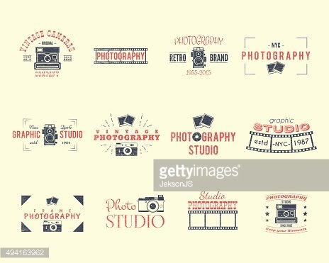 Vintage Textured Photography Badges, Labels. 2 Retro Colors design with