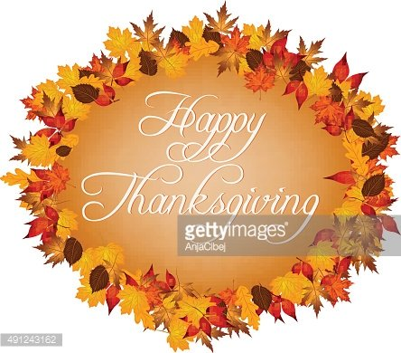 Happy thanksgiving with autumn leaves around vector