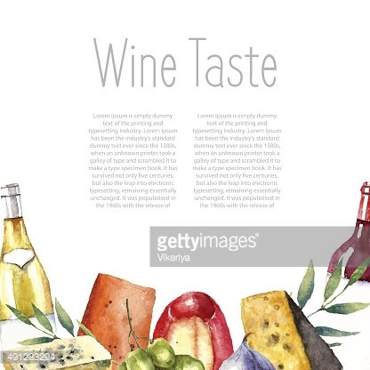 Watercolor wine and cheese frame.