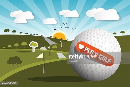 Golf Ball on Field with Sun and Sky
