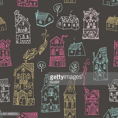 Cute seamless pattern with hand drawn houses. Vector illustration.