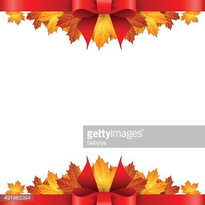 Border of autumn maples leaves decorated with a red bow.