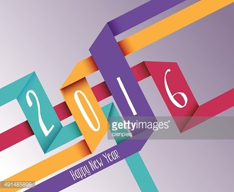 Happy new year 2016 simple origami background