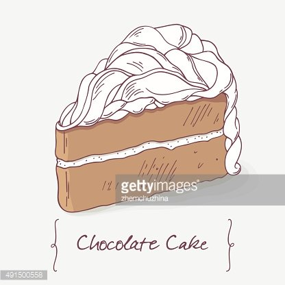 Sweet chocolate cake doodle isolated in vector. Doodle dessert illustration