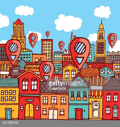 Marker locations over colorful city