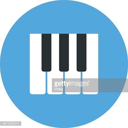 Piano keys icon, modern minimal flat design style, vector illustration