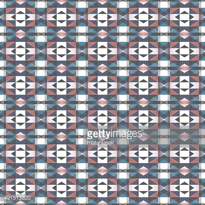 Seamless geometrical pattern in blue, white, red and dark grey