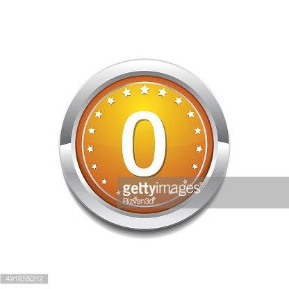 0 Number Yellow Vector Icon Button