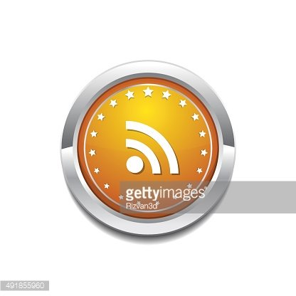 RSS Sign Yellow Vector Icon Button