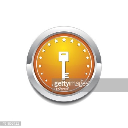 Key Sign Yellow Vector Icon Button